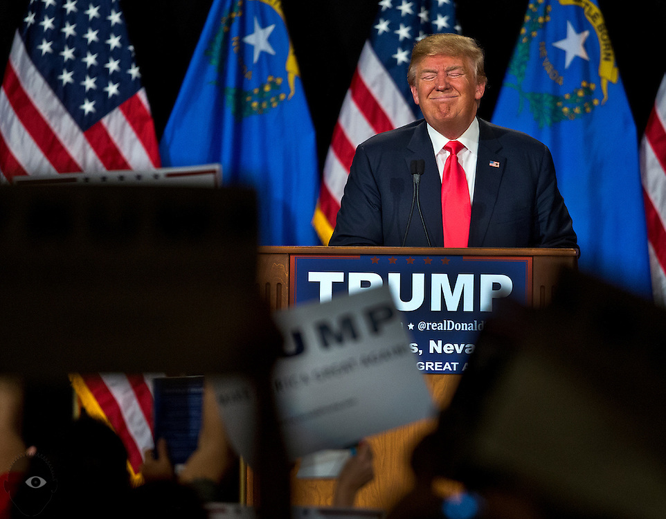 Republican Presidential candidate Donald Trump stands pleasantly taking in the moment following his speech during his rally at South Point Hotel, Casino and Spa in Las Vegas on Thursday, January 21, 2016. L.E. Baskow