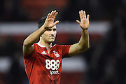 Nottingham Forest defender Eric Lichaj (2) waves to the forest fans applauds the fans after winning 1-0 during the EFL Sky Bet Championship match between Nottingham Forest and Bristol City at the City Ground, Nottingham, England on 21 January 2017. Photo by Jon Hobley.
