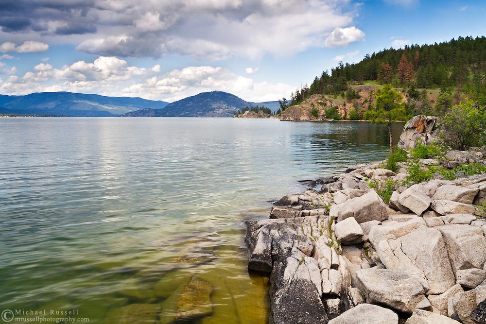Rocky shore at Okanagan Lake in Ellison Provincial Park just outside Vernon, British Columbia, Canada