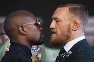 Floyd Mayweather jr vs Conor McGregor Face-off during Press conference - 23 Aug 2017