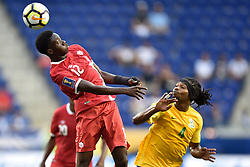 July 7, 2017 - Harrison, New Jersey, U.S - Canada midfielder ALPHONSO DAVIES (12) heads the ball away from French Guiana defender RHUDY EVENS (4) during CONCACAF Gold Cup 2017 action at Red Bull Arena in Harrison New Jersey Canada defeats French Guiana 4 to 2. (Credit Image: © Brooks Von Arx via ZUMA Wire)