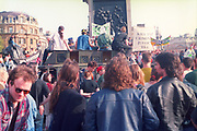 Protesters on top of sound system van, 1st Criminal Justice March, Trafalgar Square, London, UK, 1st of May 1994.