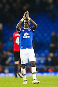 Everton's Idrissa Ganna Gueye Everton defender Ashley Williams applauds the home fans following during the Premier League match between Everton and Manchester United at Goodison Park, Liverpool, England on 4 December 2016. Photo by Simon Brady.