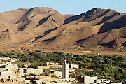 TALIOUINE, MOROCCO - MAY 25TH 2016 - Taliouine Landscape and Mosque, Anti Atlas Mountains, Souss Massa Draa region of Southern Morocco