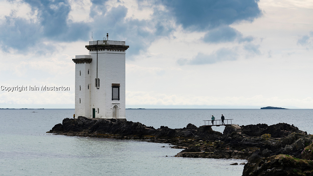 Port Ellen Lighthouse  (Carraig Fhada lighthouse) on Islay in Inner Hebrides, Scotland , UK