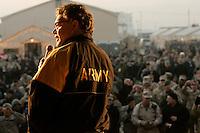 al franken during show in Phoenix Base, Kabul<br /><br />during USO tour<br /><br />photo by Owen Franken<br /><br />Dec , 2006 Al Franken, USO tour