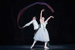 © Licensed to London News Pictures. 04/08/2015. London, UK. Yanela Pinera as The Sylphide and Qi Huan as James. Dress rehearsal of La Sylphide (some parts in partial costume). Australia's Queensland Ballet makes its London Coliseum debut with La Sylphide, the August Bournonville ballet is choreographed by Peter Schaufuss. Performances at the Coliseum from 5 to 8 August 2015. Photo credit: Bettina Strenske/LNP