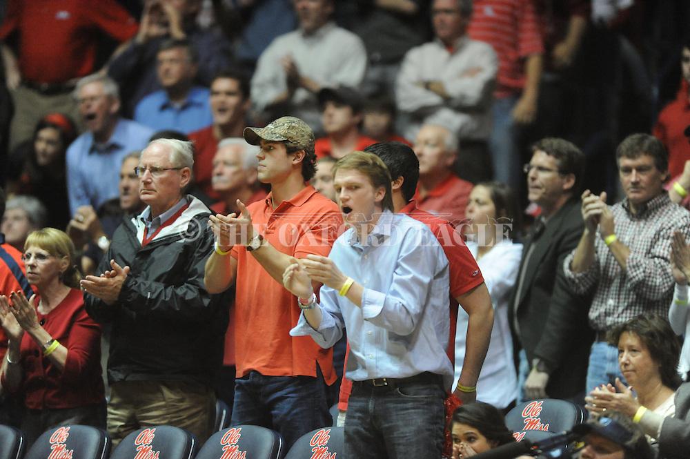 "Ole Miss fans cheer vs. Missouri at the C.M. ""Tad"" Smith Coliseum on Saturday, January 12, 2013. Ole Miss defeated #10 ranked Missouri 64-49."