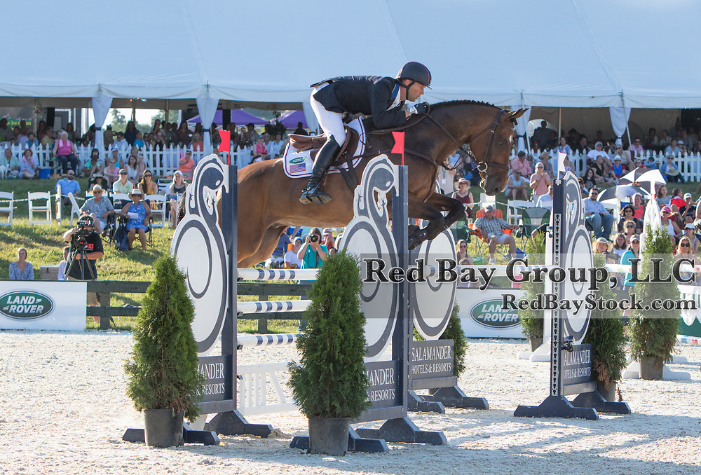 Clark Montgomery riding Loughan Glen competes in the Show Jumping phase at the 2016 Land Rover Great Meadow International on Saturday, July 9, 2016, at the Great Meadow Foundation in The Plains, VA.