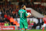 Brighton goalkeeper, Niki Maenpaa looks for an outlet during the Capital One Cup match between Walsall and Brighton and Hove Albion at the Banks's Stadium, Walsall, England on 25 August 2015.