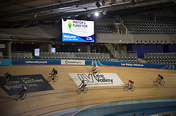 Image ©Licensed to i-Images Picture Agency. 05/02/2015. London, United Kingdom. <br /> <br /> Mayor's Fund For London 'Take To The Track' event at the Lee Valley VeloPark Velodrome in the Olympic Park, London.<br /> <br /> Picture by Ben Stevens / i-Images