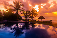 Infinity pool and beach at sunrise, Le Reve Hotel, Riviera Maya, Quintana Roo, Mexico