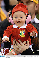 29 June 2013; A young British & Irish Lions supporter during the game. British & Irish Lions Tour 2013, 2nd Test, Australia v British & Irish Lions, Ethiad Stadium, Melbourne, Australia. Picture credit: Stephen McCarthy / SPORTSFILE