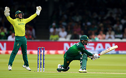 Pakistan's Mohammad Hafeez is trapped LBW by South Africa's Aiden Markram during the ICC Cricket World Cup group stage match at Lord's, London.