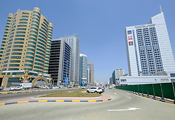 View of modern office buildings in Fujairah city in United Arab Emirates