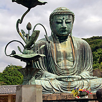 Asia, Japan, Kamakura. The Great Buddha of Kamakura, a bronze statue dating back to 1252.