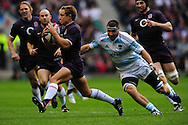 London - Saturday, November 14th 2009: Johnny Wilkinson of England and Juan Martin Fernandez Lobbe of Argentina during the Investec Challenge Series Game at Twickenham, London. ..(Pic by Alex Broadway/Focus Images)