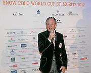 2019, Januari 24. Kulm Hotel, St Moritz. Spelerspresentatie van de Snowpolo World Cup. Op de foto: Dr Piero Dillier