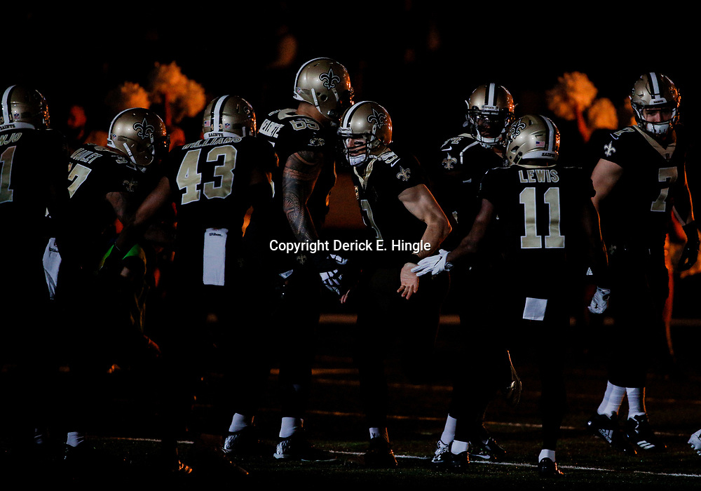 Dec 24, 2017; New Orleans, LA, USA; New Orleans Saints quarterback Drew Brees (9) during introductions before a game against the Atlanta Falcons at the Mercedes-Benz Superdome. Mandatory Credit: Derick E. Hingle-USA TODAY Sports