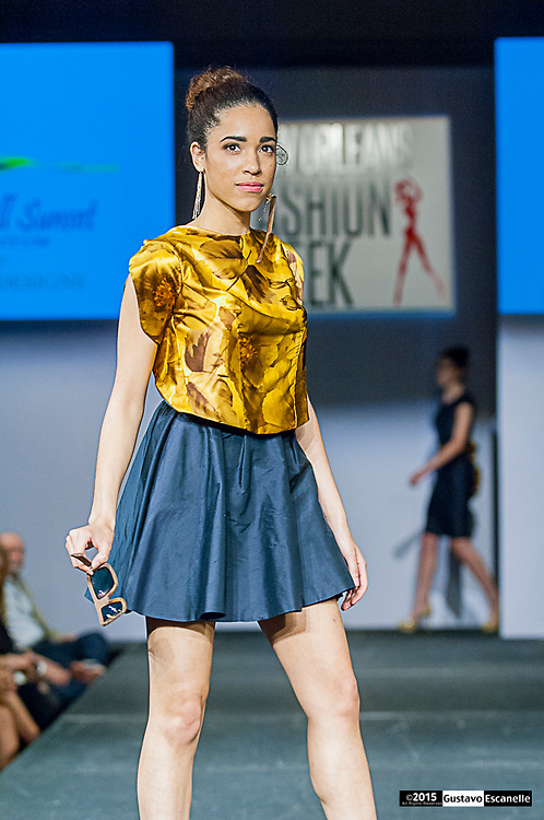 NEW ORLEANS FASHION WEEK 2015: Designer Kristine Pichon Winner of Top Design Competition showcasing her design at the New Orleans Fashion Week at the New Orleans Board of Trade on Wednesday March 25th, 2015. ©2015, Gustavo Escanelle, All Rights Reserved. ©2015, MOI MAGAZINE, All Rights Reserved.