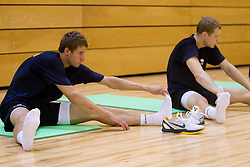 Luka Lapornik and Jaka Blazic during practice session of Slovenian National Basketball team during training camp for Eurobasket Lithuania 2011, on July 12, 2011, in Arena Vitranc, Kranjska Gora, Slovenia. (Photo by Vid Ponikvar / Sportida)