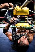 Lucha Libre AAA wrestlers Dark Ozz, top, and Cibernetico bottom, battle in Sacramento, CA March 28, 2009.