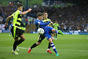 Sheffield Wednesday midfielder Adam Reach (9) shoots during the EFL Sky Bet Championship play off second leg match between Sheffield Wednesday and Huddersfield Town at Hillsborough, Sheffield, England on 17 May 2017. Photo by John Potts.