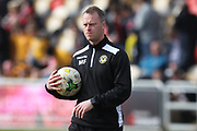 A determined Mike Flynn before kick off during the EFL Sky Bet League 2 match between Newport County and Notts County at Rodney Parade, Newport, Wales on 6 May 2017. Photo by Daniel Youngs.