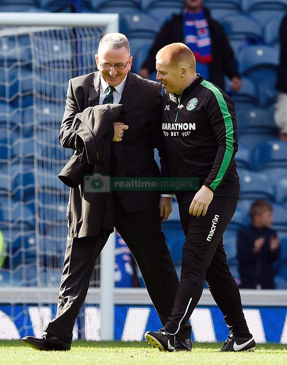 Hibernian manager Neil Lennon (right) after the Ladbrokes Scottish Premiership match at the Ibrox Stadium, Glasgow.