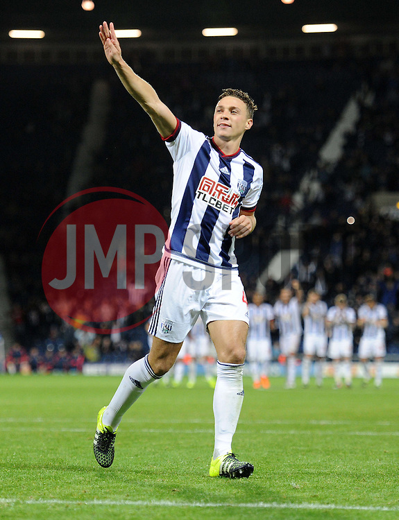 West Bromwich Albion's James Chester sores the winning penalty and celebrates. - Mandatory byline: Alex James/JMP - 07966386802 - 25/08/2015 - FOOTBALL - The Hawthorns -Birmingham,England - West Brom v Port Vale - Capital One Cup