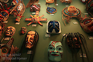 First Nations masks for sale in shop in Gastown, popular tourism district in downtown Vancouver, British Columbia, Canada.