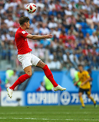 July 14, 2018 - Saint Petersburg, Russia - John Stones of the England national football team vie for the ball during the 2018 FIFA World Cup Russia 3rd Place Playoff match between Belgium and England at Saint Petersburg Stadium on July 14, 2018 in St. Petersburg, Russia. (Credit Image: © Igor Russak/NurPhoto via ZUMA Press)