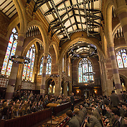 "Pupils attend morning chapel at Rugby School in central England, March 18, 2015.  The public school, founded in 1567 was amongst the first ""Public"" schools in England. The school is known as the home of rugby. Local legend  states that in 1823 pupil William Webb Ellis first ran with the ball inventing the game of rugby football which took its name from the school. In 2015 20 countries will compete in the Rugby World Cup which is hosted by England REUTERS/Neil Hall"