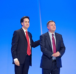 Ed Miliband and Ed Balls Shadow Chancellor of the Exchequer during Ed Balls speech to the Labour Party Conference in Manchester, Monday October 1 2012, Photo by Elliott Franks / i-Images