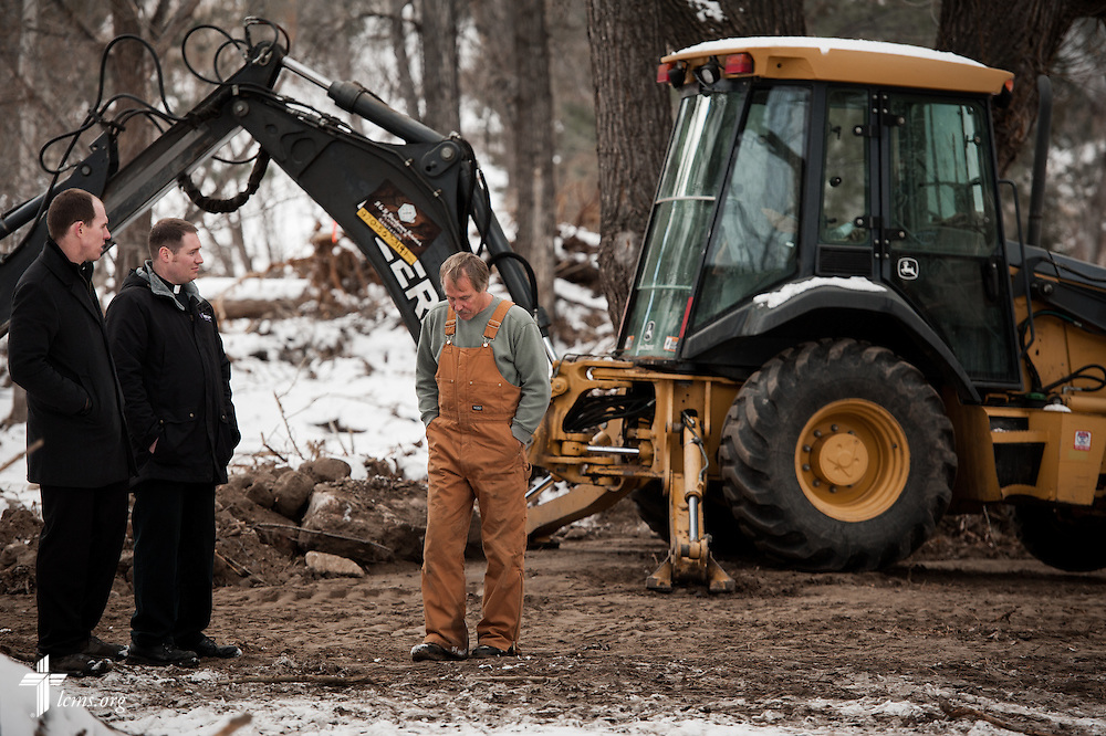 (L-R) The Rev. Seth Clemmer, pastor of Mt. Calvary Lutheran Church, and the Rev. Michael W. Meyer, manager of LCMS Disaster Response, meet with Jeff Shaffer at his Drake Camground in Drake, Colo., on Tuesday, Jan. 7, 2014. Jeff and his wife Lori Shaffer's property was damaged by flooding in September. LCMS Communications/Erik M. Lunsford