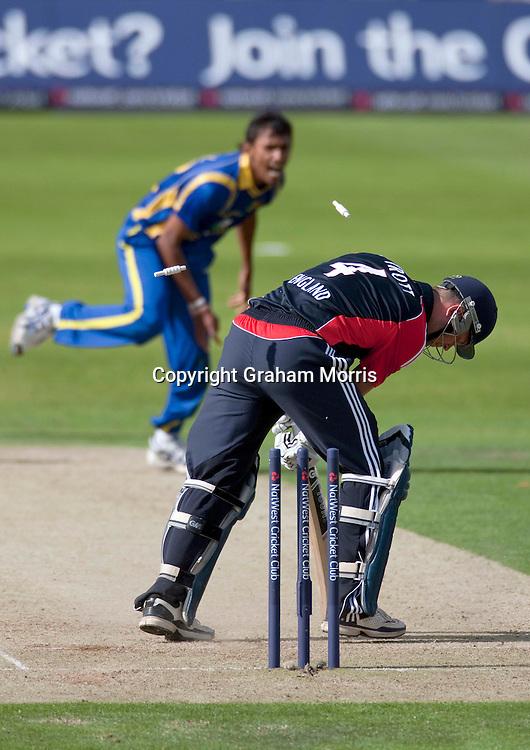 Jonathan Trott is bowled by Suranga Lakmal during the second one day international between England and Sri Lanka at Headingley, Leeds. Photo: Graham Morris (Tel: +44(0)20 8969 4192 Email: sales@cricketpix.com) 01/07/11