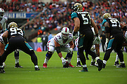 Buffalo Bills Eric Wood with a srummage near to the touch line during the Buffalo Bills v Jacksonville Jaguars NFL International Series match at Wembley Stadium, London, England on 25 October 2015. Photo by Matthew Redman.