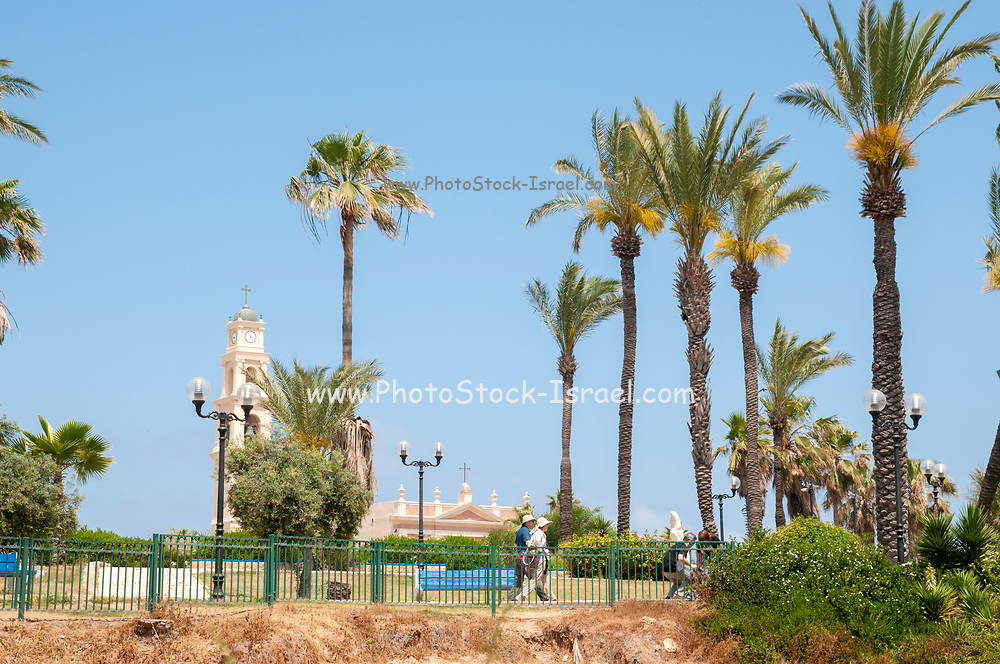 Gan Hapisga (Summit Park), Jaffa old city, St Peter church and Monastery in the background
