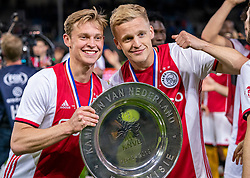 15-05-2019 NED: De Graafschap - Ajax, Doetinchem<br /> Round 34 / It wasn't really exciting anymore, but after the match against De Graafschap (1-4) it is official: Ajax is champion of the Netherlands / Frenkie de Jong #21 of Ajax, Donny van de Beek #6 of Ajax