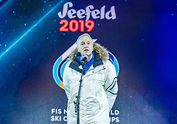 20.02.2019, Seefeld, AUT, FIS Weltmeisterschaften Ski Nordisch, Seefeld 2019, Eröffnungsfeier, im Bild Gian Franco Kasper (Präsident des Internationalen Skiverbandes FIS) // Gian Franco Kasper President of the International Ski Federation FIS during the opening ceremony of the FIS Nordic Ski World Championships 2019. Seefeld, Austria on 2019/02/20. EXPA Pictures © 2019, PhotoCredit: EXPA/ Stefan Adelsberger