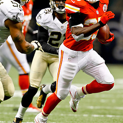 September 23, 2012; New Orleans, LA, USA; Kansas City Chiefs running back Jamaal Charles (25) runs as New Orleans Saints linebacker Jonathan Casillas (52) and cornerback Patrick Robinson (21) pursue the play during the first quarter of a game at the Mercedes-Benz Superdome. Mandatory Credit: Derick E. Hingle-US PRESSWIRE