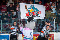 KELOWNA, CANADA - MARCH 4: The Kelowna Rockets flag is waved by the mascot Rocky Racoon on March 4, 2017 at Prospera Place in Kelowna, British Columbia, Canada.  (Photo by Marissa Baecker/Shoot the Breeze)  *** Local Caption ***