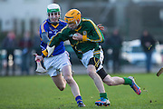 The Bord na Mona Kehoe Cup quarter final at Trim, 26th January 2014.<br /> Meath vs Wicklow<br /> Adam Gannon (Meath) &amp; Eugene Dunne (Wicklow)<br /> Photo: David Mullen / www.cyberimages.net &copy; 2014