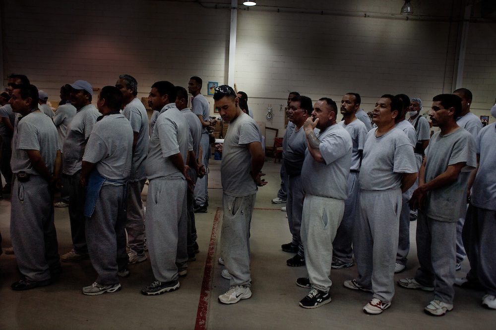 Prisoners line up for lunch in the Chihuahua State Penitentiary outside of Ciudad Juarez Mexico.