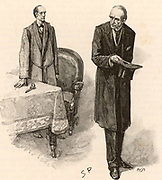 The Adventure of the Final Problem'.  Professor Moriarty leaves Holmes, having failed to persuade him to stop his investigations. Illustration by Sidney E Paget (1860-1908) for 'The Adventures of Sherlock Holmes'  by Arthur Conan Doyle in 'The Strand Magazine' (London, 1893).  Paget was the first artist to draw  Holmes.