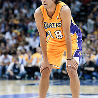 04 October 2010: Los Angeles Lakers guard Sasha Vujacic #18 is seen during the Minnesota Timberwolves 111-92 victory over the Los Angeles Lakers, during 2010 NBA Europe Live, at the O2 Arena in London, England.