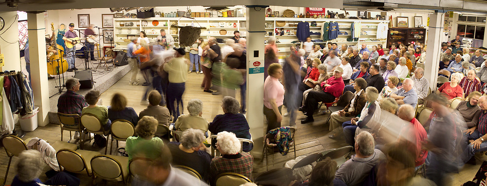 "FLOYD, VA,  Ralph Hayden and the ""Barbershop Grass"" play bluegrass music inside the Floyd country store during its weekly Friday night Jamboree in Floyd, Virginia.  The country store is the heart and soul of this diverse community bringing together farmers, businessmen, brethren church members, back to the land movement participates and boutique owners under the same roof once a week.  The country store has a worldwide reputation not only for what it means to the town of Floyd but also for the quality of old time music played there.  The store functioned as a general store for the community into the 1990's selling everything from groceries to overalls.  These days the store is only open on Friday nights for the Jamboree."