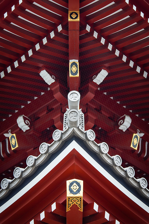 Symmetrical view of details in Sensoji Temple roofs