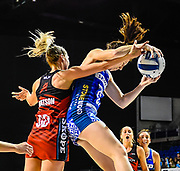 Jane Watson of the Tactix and Bailey Mes of the Mystics tussle for the ball during the ANZ Premiership Netball match, Tactix V Mystics, Horncastle Arena, Christchurch, New Zealand, 28th May 2018.Copyright photo: John Davidson / www.photosport.nz