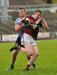 Balla's Culan Higgins tries to get past Westport's David groden during the Mayo Minor County A Final.<br /> Pic Conor McKeown